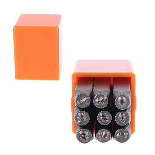 YUIOP Juego de Punzones, 9pcs Número de Estampado de Metal de Madera Cubren la Caja de Herramientas Craft Craft Stamper 3-6mm (Size : 3mm)