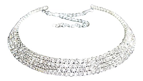 Strass Halskette Halsreifen Strasshalsband Halsband Strass Collier (4-Reihig)
