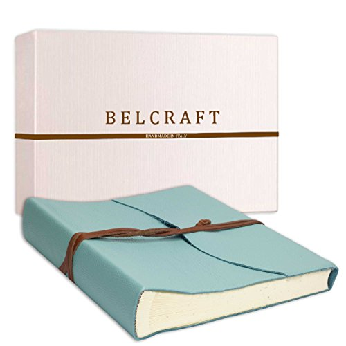 Belcraft Capri Fotoalbum aus Leder, Handgearbeitet in klassischem italienischem Stil, Geschenkschachtel inklusive, A4 (23x30 cm) Aqua