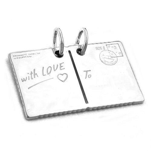 Unisex Kettenanhänger Pärchen Anhänger Partneranhänger Postkarte with Love aus 925 Silber Abmessung 27 x 16 mm inkl. kleiner Schmuckbox