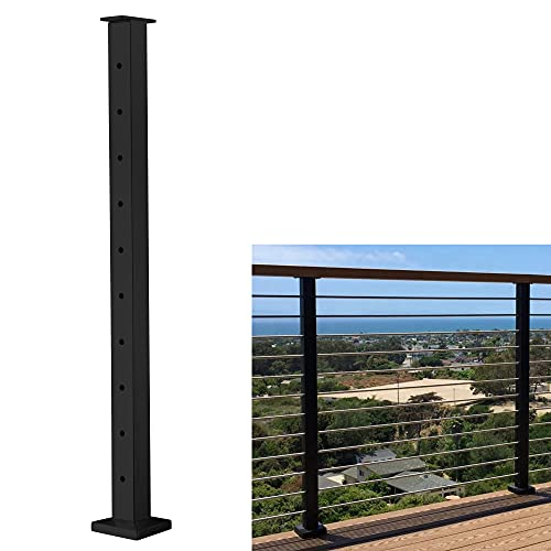 """Senmit Cable Railing Post - Stainless Steel Square Fence Post for Deck Cable Railing System, Flat top 36""""x2""""x2"""" Brushed Finish 10 Holes Level Pre-Drilled, Matte Black"""