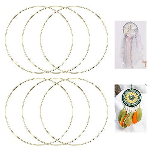 DECARETA6 Stück Gold Beschichtet Metallring 15cm Drahtring zum Basteln für Wickeltechnik, Traumfänger und DIY Kunsthandwerk