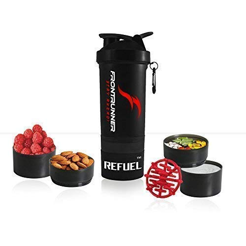 FrontRunner Fitness The Refuel Shaker - Hungry Wolf Series - Protein Shaker - Water Bottle - 800mL (Smoke Black)