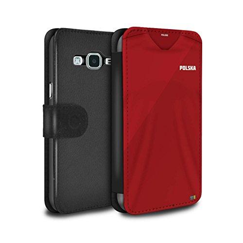 Stuff4 PU-Leder Hülle/Case/Tasche/Cover für Samsung Galaxy J5 2016 / Polen/Polieren Muster/Weltmeisterschaft 2018 Fußball Trikot Kollektion