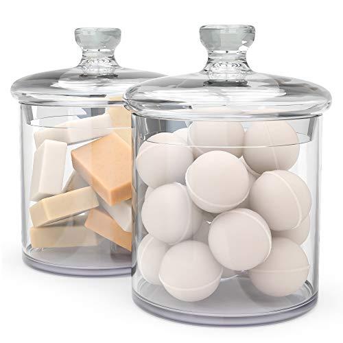 KooK Apothecary Jars, Quality Glass Make, Bathroom Canisters, Set of 2, 34oz