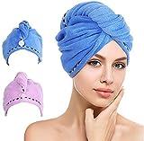 Anlising Toalla turbante para el pelo, secado rápido y absorbente, 2 unidades, color azul y lila