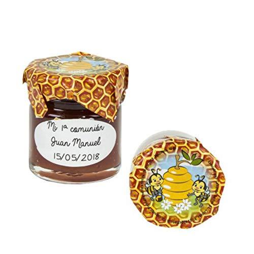 """Lote de 15 Tarros de Cristal de Miel con Adhesivo""""Abejas"""". Regalos Originales. Complementos. Detalles para Bodas, Comuniones, Bautizos y Cumpleaños. CC"""