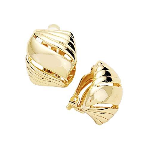 Schmuckanthony Hoernel Trendy Clip-On Hoop Earrings with Gold Motif 2 cm Long