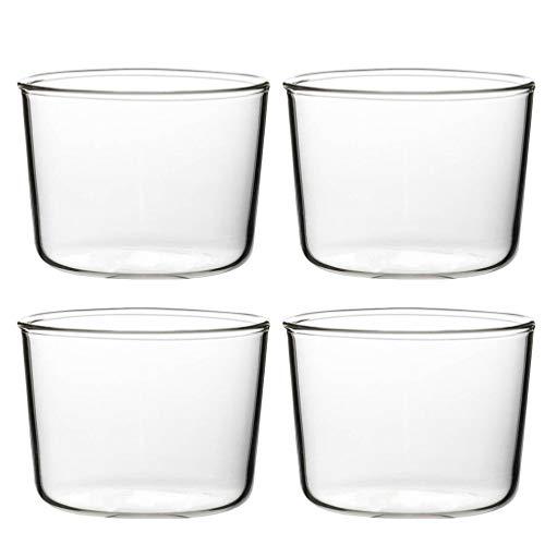 BESTonZON 4 Stück Mini Dessertschale Einfache Glas Cupcake Tassen Wiederverwendbare Vorspeise Servierschalen für Pudding Gewürze Snacks 200Ml