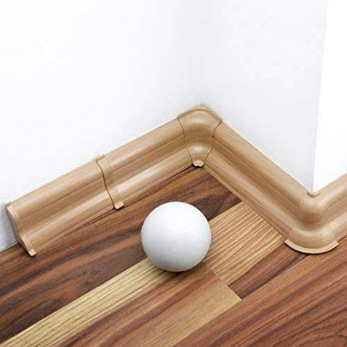 [DQ-PP] 2 Meter Sockelleiste 52mm PVC Buche naturlich Laminatleisten Fussleisten aus Kunststoff PVC Laminat Dekore Fußleisten