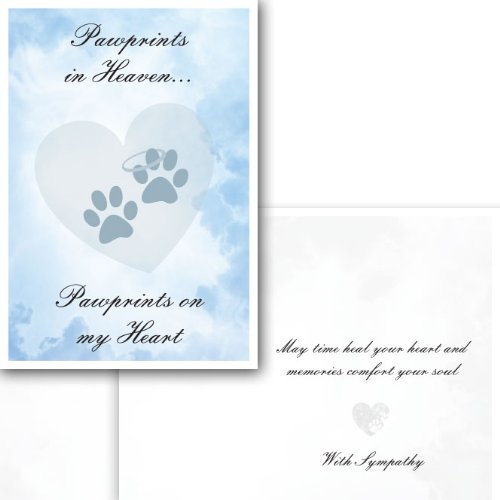 Dog Speak Pawprints in Heaven - Thinking of You - Death Loss of Pet Sympathy Card