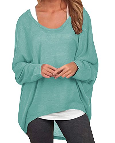 ZANZEA Damen Lose Asymmetrisch Jumper Sweatshirt Pullover Bluse Oberteile Oversize Tops Y-grün EU 50/Etikettgröße 3XL