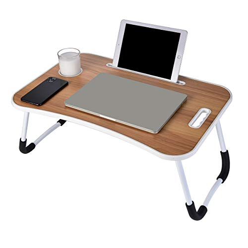 Laptop Desk, Portable Laptop Bed Tray Table, Notebook Stand Reading Holder,Couch Table,Bed Desk with Handle for Reading Book, Eating, Working, Writing, Gaming, Drawing (Walnut)