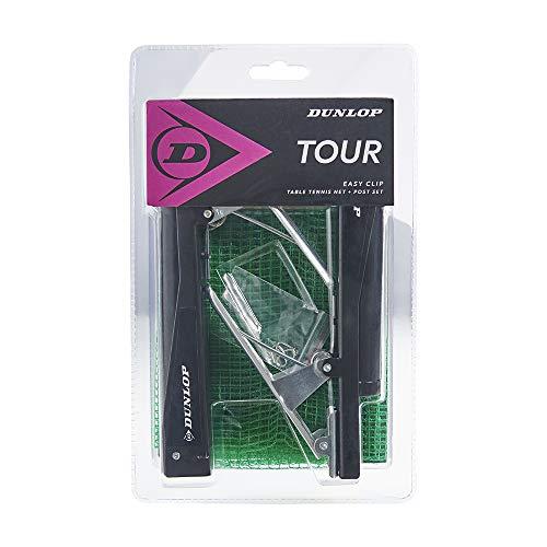 Dunlop Tour Tischtennis Netz- und Pfosten- Set grün, grünes TT Netz, Training, Wettkampf, Anfänger und fortgeschrittene Spieler