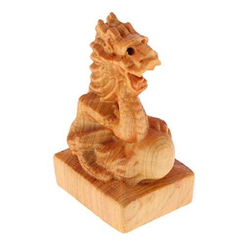 FLAMEER Handgeschnitzte Tierkreis Figur Dekofigur Holzfigur Glücksbringer für Auto Büro Wohnzimmer - Drachen