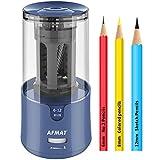AFMAT PencilSharpener, Electric PencilSharpenerforColoredPencils,AutoStop,Fast Sharpen in 3s,Large HolePencilSharpenerPluginfor6-12mmNo.2/Jumbo Pencils-Blue