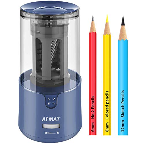 AFMAT Pencil Sharpener, Electric Pencil Sharpener for Colored Pencils, Auto Stop, Fast Sharpen in 3s, Large Hole Pencil Sharpener Plug in for 6-12mm No.2/Jumbo Pencils-Blue