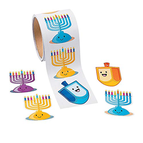 Hanukkah Candle Roll Stickers - 1 Roll with 100 Stickers - Party Supplies