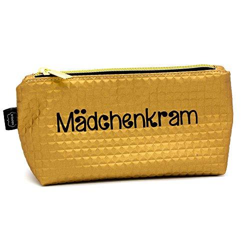Kleine goldene Kosmetiktasche mit Spruch - Schminktasche, Kramtasche mit Reißverschluß aus Kunstleder - Kulturbeutel - Stiftemäppchen -