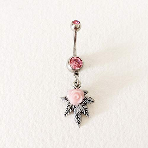 Marijuana Leaf Belly Ring, Pink Rose, Antique Silver, Belly Button Jewelry, Cannabis Piercing Navel Body Jewelry Bellybutton Ring