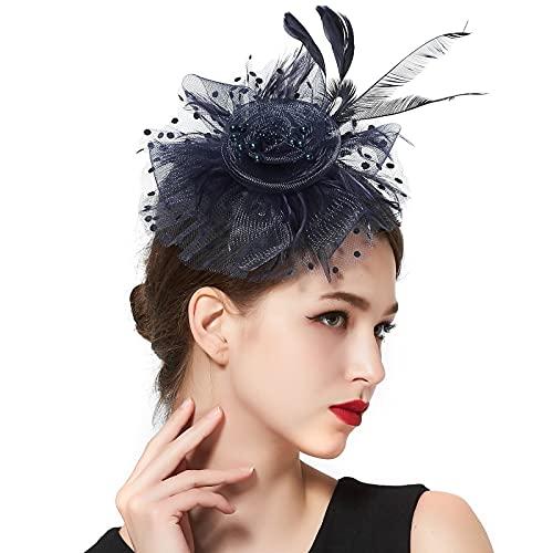 Honestyi Fascinators Hut Damen Blume Mesh Bänder Federn auf einem Stirnband und Einem Geteilten Clip Kentucky Derby Pillbox Hut Cocktail Tea Party Hat Headwear für Frauen (blau-1)