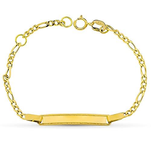 Esclava para bebé oro amarillo 18k niña 14 cm cadena fígaro y chapa. Grabado gratuito - Especial regalo bautizo, recién nacida