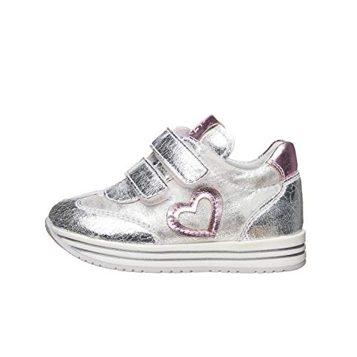 Nero Giardini E021440F Sneakers Kids da Bambina in Tela - Argento 27 EU