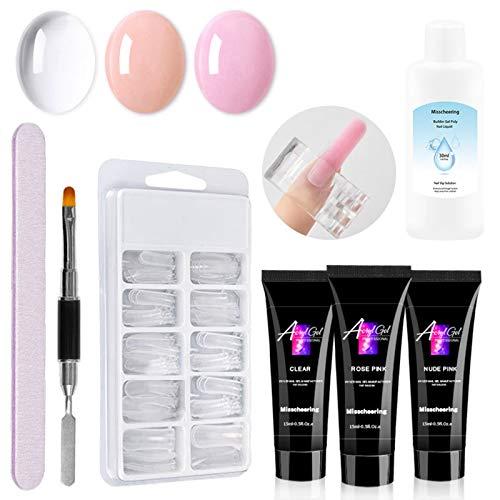 Anself Juego de gel de uñas UV de gel de extensión de uñas Gel polivinílico + 100 PCSPuntas de uñas postizas + Clip de uñas +Nail Pen