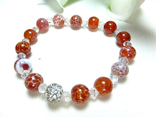 Armband mit Feuerachat Perlen, Edelsteinarmband
