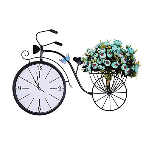 Relojes de pared Reloj de pared Reloj de pared de bicicleta Moda Arte americano Reloj de pared con flores Decoración nórdica Restaurante Reloj de lujo ligero silencioso Relojes de pared fácile