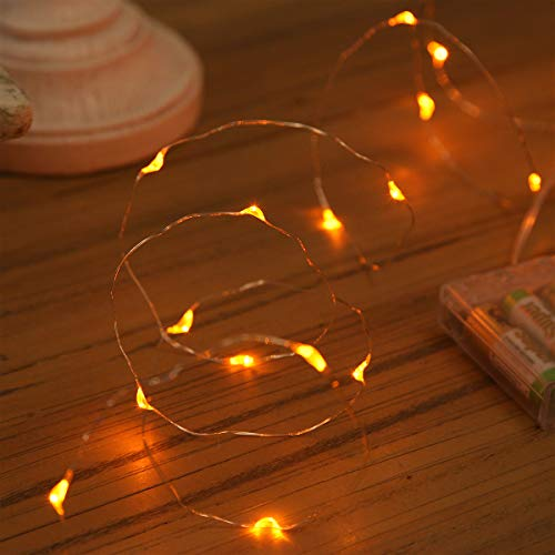 Festive Lights 20 LED Battery Operated Micro Fairy Lights with Silver Wire Available in 6 Colours (Amber)