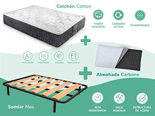 Dreaming Kamahaus Pack Somier Neo + Colchón Cotton Soft + Almohada Carbono| 180 x 190 cm (2 uds a unir 90 x 190 cm)