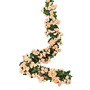 Lannu 2 Pack Artificial Rose Vine Flowers Fake Garland Ivy Flowers Silk Hanging Garland Plants for Home Wedding Party Decorations, (Champagne)