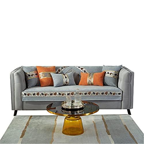 Funda de sofá seccional Antideslizante de Color sólido con Hojas de Chenilla,Gris,90 * 180 cm