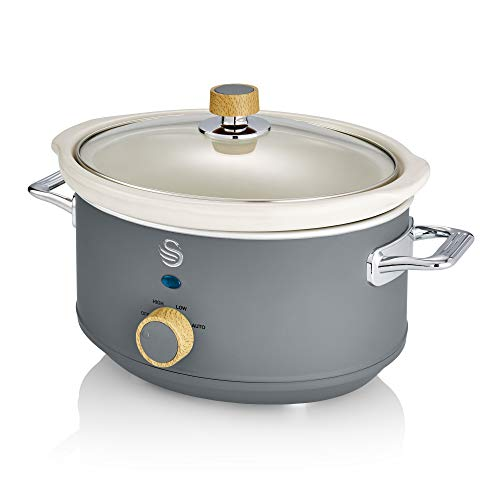 Swan Nordic Grey 3.5 Litre Slow Cooker, 3 Temperature Settings, Keep Warm Function, Removable Ceramic Inner Pot, 32 Recipe Book, 200W, SF17021GRYN