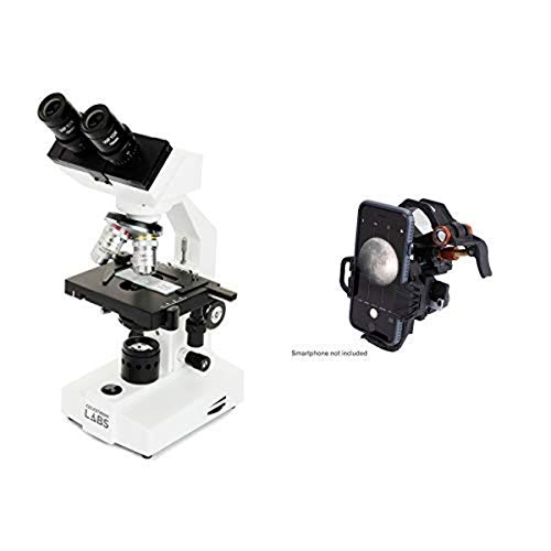 Celestron CB2000CF Compound Binocular Microscope w/40x - 2000x power, 10x and 20x eyepieces, course and fine focus, 10 prepared slides, 3 color filters, emersion oil with Universal Smartphone Adapter