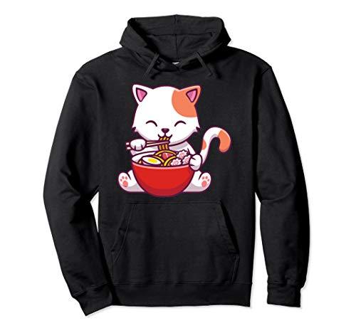 Ramen Cat Kawaii Japanese Anime Lover Boys and Girls Gift Pullover Hoodie