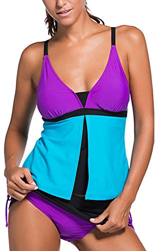 Minetom Bañador Tankini De Dos Piezas Mujer Bikini Top Shorts Colores Opcionales Verano Elegante Cómodo Rendijas Beach Swimwear Azul - Morado ES 46
