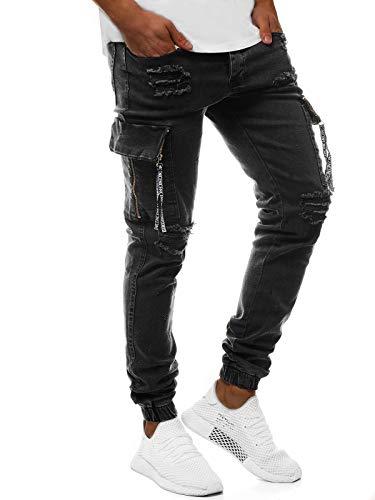 OZONEE Herren Jeans Hose Herrenjeans Jeanshose Skinny Röhenjeans Biker Jogger Stretch Regular Slim Fit Straight Sportjeans Cargohose Cargo Destroyed Look Verwaschen G/1083 SCHWARZ W31