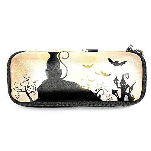 TIZORAX Federmäppchen mit Halloween-Katzen und Fledermäusen, Federmäppchen, Make-up-Tasche, Studenten, Schreibwaren, Stifthalter für Schule/Büro
