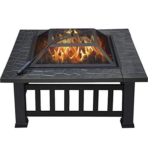 Yaheetech Feuerkorb Garten Feuerstelle Feuerschale für den Außenbereich quadratische Metallschale, Multifunktional Fire Pit für Heizung/als Eiskübel im Sommer, 81x81x36.5cm