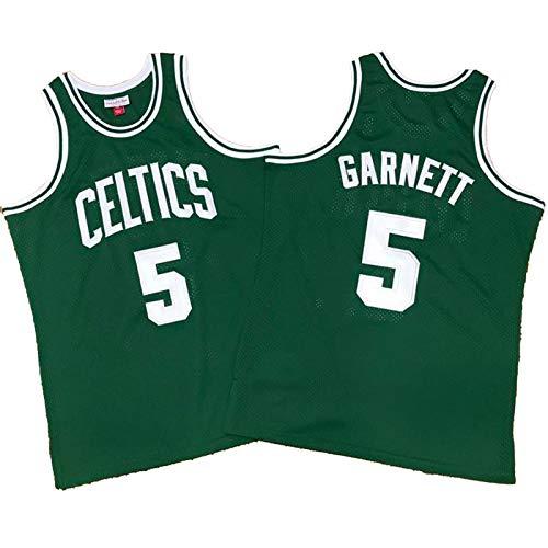 Herren Basketball Trikots Kevin Garnett Ray Allen, Boston Celtics Grün Bestickt Sport Fan Trikots Retro Komfort Atmungsaktiv Poloshirts (S-XXL) Gr. XXL, 5#