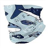 Haie und Fisch auf Babyblau, Halstuch, atmungsaktiv, Gesichtsschal, Kopfbedeckung, Sturmhaube, winddicht, Anti-Staub-Gesichtsmaske, Schal für Männer und Frauen