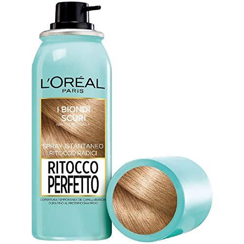 L'Oréal Paris Ritocco Perfetto Spray Ritocco Radici, Colorazione Ricrescita, Copre i Capelli Bianchi e Dura 1 Shampoo, 4 Biondo Scuro, 75 ml