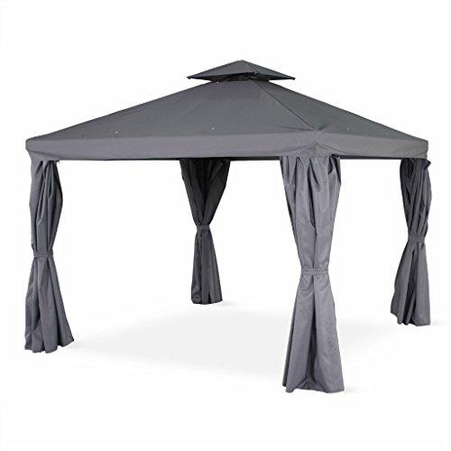 Alice's Garden - Pérgola de aluminio - Divodorum 3x3m - Lona gris - Cenador con cortinas, estructura de aluminio