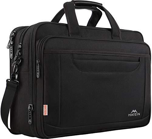 Laptop Bag, 17 Inch Expandable Briefcase for Men Women, Water Resistant Business Laptop Case, Durable Multifunctional Messenger Shoulder Bag Fit 17.3 17 Inch Notebook for Travel Office Work, Black