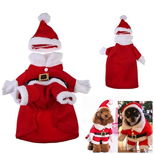 FABSELLER Huisdier Kerstmis Kostuum Hond Kat Kerstman Pak Kostuum Huisdier Kerst Outfit Jas Huisdier Winter Warme Kleding Party Dressing up Kleding met Cap, L, santa costume