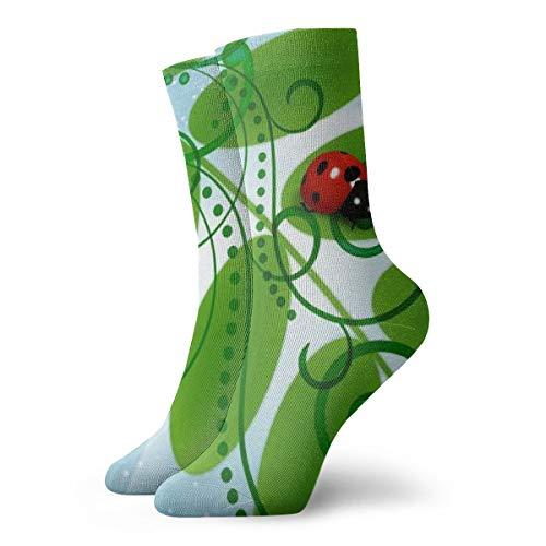 Unisex High Ankle Cushion Crew Socks Ladybug Digital Art Casual Sport Socks