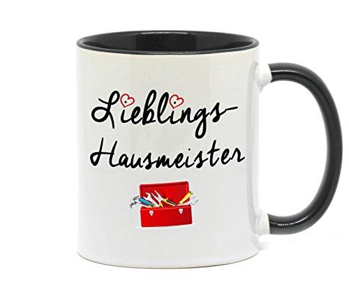 Nice-Presents Tasse Lieblings Hausmeister Hochwertige Tasse für den zuverlässigen Handwerker, beidseitig Bedruckt. EIN Dankeschön als tolles Geschenk im Büro und zuhause. (Schwarz)