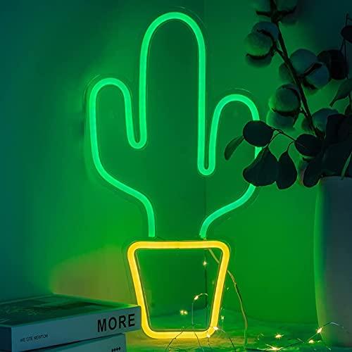 Starsmyy Cactus luz de neón del USB LED Luces Cactus lámpara de Pared decoración de la habitación con Pilas Luces de neón Verde de neón Signos para Navidad, Fiesta, Bar
